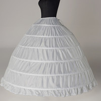Wholesale Cheap Quinceanera Wedding Dresses - Super Cheap Ball Gown 6 Hoops Petticoat Wedding Slip Crinoline Bridal Underskirt Layes Slip 6 Hoop Skirt Crinoline For Quinceanera Dress