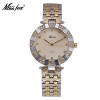 Wholesale Business Fox - Miss Fox Classic Women Watches Stainless Steel Three Eye 18K Gold Plated Girls Wrist Watch Arabic Numeral Business Quartz Watch