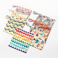 Wholesale Chevron Diapers - Travel Baby Wet and Dry Cloth Diaper Organizer Bag Tote with Soft Snap Handle Wave Animal Chevron Zipper Waterproof babies Nappy Stackers