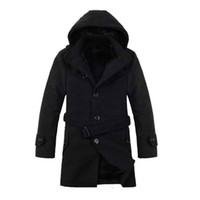 Wholesale Long Sections Trench Coats - Wholesale- 2016 Men Thick Warm Winter Trench Coats Long Section Turn Down Collar Single breasted Solid Fashion Fleece Jacket Overcoat XXXL
