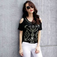 Wholesale Loose Shirt Shorts Korean - Top crop top New Korean version of the loose size of women's bat sleeves sleeves short-sleeved women's t-shirt T-shirts for women Tops 3025