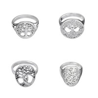 Wholesale Wholesale Girls Jewelry Trees - New Arrival Midi Rings The Tree of Life Girls Channel Setting Silver Plated Wedding Ring Sterling Religious Jewelry for Woman and men