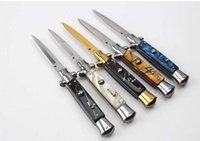 "Wholesale fiber fox - AKC 9"" INCH Acrylic handle Italian Godfather Stiletto 440C steel blade survival outdoor camping knives single action free shippin"