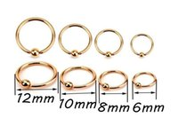 Wholesale Rose Nipple Rings - 50pcs Surgical Steel BCR Ring rose gold Nose Lip Labret Ear Rings Hoop 16gx6 8 10 12x3mm Body Piercing Jewelry