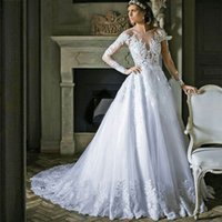 Wholesale Sexy Wedding Desses - Honorable White Lace Long Sleeve Wedding Dress Ball Gowns Desses Tulle Buttons Royal Train Bridal Gown Vestido De Noiva