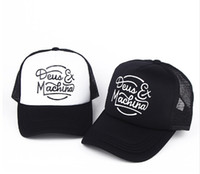 Wholesale black white dot hat resale online - Deus Ex Machina Baylands Trucker Snapback Caps Black MOTORCYCLES Mesh Baseball Hat Sport Palace Drake God Pray Ovo October Cap bone gorras