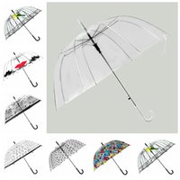 Wholesale Transparent Umbrella Rainy - 7 Colors Transparent Clear Arch Apollo Umbrella Parasol For Wedding Party Favor Women Girls Rain Umbrella CCA6859 30pcs