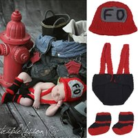 Wholesale Cute Dolls Photos - Baby Firemen Photography Props Cute Newborn Boy and Girl Crochet Outfit Infant Photo Props Doll Accessories Baby Hat BP079