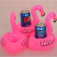 Wholesale Inflatable Swim Set - New Inflatable Coasters Flamingo Coke Sets Water Floating Bottle Cup Coasters Mobile Phone Drink Holder Toy Home Decorations Swimming 686