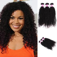 Wholesale Weave Lengths - Cheap Virgin Human Hair Weaves Brazilian Curly Wave Hair 3 Bundles lot 12-30inch 1B Natural Black Soft Weft Forawme Hair