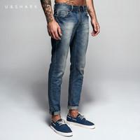 Wholesale Denims U - Wholesale-Italian Style Fashion Full Length Solid Skinny Jeans Men Brand Designer Clothing Denim Pants U&Shark Luxury Casual Trousers Male
