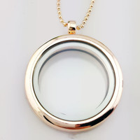 Wholesale Round Glass Pendant Opens - 4 Colors Glass Locket Necklace Can Be Opened Memory Pendant Charming Ladies Round Frame Necklace Jewelry Accessory Wholesale