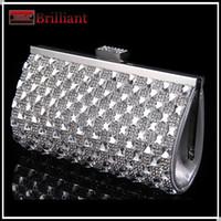 Wholesale Clear Crystal Evening Bag - Handmade Top Quality Full Rhinestone Silver Bag Women Clear Clutch Wedding Clutch with Crystals Evening Bags Mini Handbag Hk889
