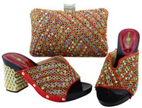 Wholesale Crystal Wedge Wedding Shoes - Wonderful red lady shoes match bag set with crystal decoration african shoes and handbag for dress YM005,heel 9CM