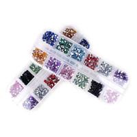 diamantes de uñas al por mayor-Al por mayor-12 Color Mix Nail Art Rhinestones 2mm Strass Decoración Forma Redonda Diseños Todo Para Uñas Encantos Joyería Suministros Profesional
