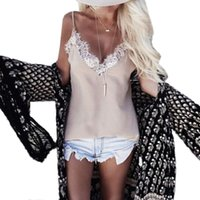 Wholesale Crochet Womens Vest - Wholesale- Womens Sexy V-Neck Lace Crochet Vest Sleeveless Camis Summer Tanks Casual Tops