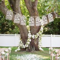 requisiten foto-stand design hochzeit großhandel-Lazer Cut Liebe Vögel Design Vintage Hochzeit Bunting Banner Photo Booth Requisiten Garland Bridal Shower Hochzeit Dekoration
