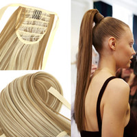 """Wholesale Hair Bandage - Wholesale- Fake Hair bandage Ponytail 24""""Long Straight pony tail Drawstring Ribbon Hairpiece Clip In Pony Tail Hair Extensions Multicolor"""