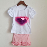 Wholesale Heart Flower Girl Dresses - summer home outfit dress baby girls simple outfits two piece pink pants legging white shirts set hot pink and purple heart flower t-shirts