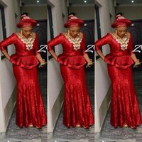 Wholesale Shiny Evening Gowns - Custom Made Nigerian Sequined Vestidos Shiny Prom Dress Aso Ebi Long Sleeve Evening Gowns Event Wear Cheap Style Prom Dresses