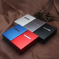 Wholesale Wholesale Silk Screen Printing - 20 pcs Black Aluminum Metal Cigar Cigarette Box Holder Tobacco Storage Case lighter
