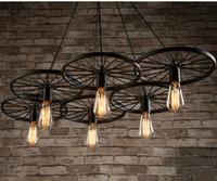 Wholesale 12v Ceiling Fixture - Vintage Wheel Ceiling Pendant Lights Modern Light Fixtures LED Lamps Home Lighting Metal Industrial Edison E27 Holder 3 6Heads Lamp