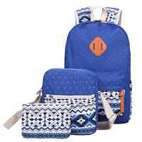 Wholesale bookbags women - Wholesale- 3 PC Set Stylish Canvas Printing Backpack Women School Bags for Teenage Girls Cute Bookbags Laptop Backpacks Female Bagpack Sac