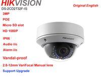 Wholesale Dome Camera Vandal Ip - Hikvision Original english ver DS-2CD2732F-IS 3MP Vandal-proof IK10 dome POE varifocal 2.8-12mm Manual Lens audio card slot IR IP CAMERA
