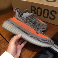 Wholesale Pink Stripe Fabric - 2017 SPLY-350 Boost V2 2016 New Kanye West Boost 350 V2 SPLY Running Shoes Grey Orange Stripes Zebra Bred Black Red 10 Color