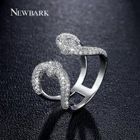 NEWBARK Vintage Crown Open Women Rings Lovely Lady Double U Couleur Argent Grande Zirconia Stone Queen Symbol Finger Ring q170720