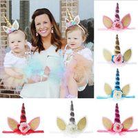 Wholesale Dress Baby Band Flower - Unicorn Horn Head Party Kid Baby Hair Headband Lace Flower Crown Hair Bands Headwear Fancy Dress Cosplay Decorative OOA3089