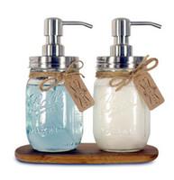 main en acier inoxydable achat en gros de-Distributeur de savon pour les mains bricolage pompe en acier inoxydable Mason Jar Comptoir distributeur de savon / lotion polonais / chrome / ORB / doré HY-03