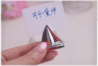 """Wholesale Sailboat Wedding Place Card Holders - """"Shining Sails""""Silver Sailboat Place Card Holders Wedding Party Birthday Baby Shower favors 100pcs lot free shipping"""