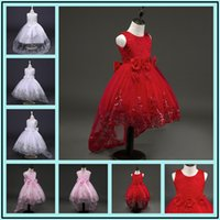 Wholesale Real Teenager - 2017 New Summer Dress For Girls Party Wedding Dresses Bow Flower Lace Dress Teenager 14 Years Ball Gowns For Children