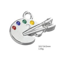 Wholesale Artist Palette Charm - Silver Plated Multicolor Artist Paint Palette and Paint Brush Charms DIY Pendants Wholesale lot 50pcs