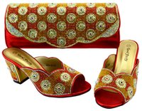 Wholesale Matching Handbag Shoes - Charming red and gold rhinestone dress shoes and bag set decoration african shoes match handbag set BCH-36,heel 8.3CM