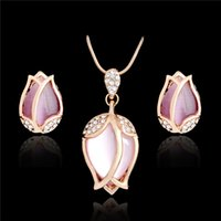 Wholesale Opal Bridal Set - Bridal Jewelry Sets Parure Bijoux Femme Pink Natural Stone Opal Rose Flowers Gold Plated Jewelry Wedding Jewelry Sets 2016