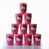 temas de fiestas de gatitos al por mayor-Al por mayor-10pcs / lot Hello Kitty cartón taza de dibujos animados feliz cumpleaños decoración tema fiesta suministro de Navidad Festival para niños niñas niños rosa