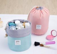 Wholesale Korean String Bag - Fashion Barrel Shaped Travel Cosmetic Bag Make up Bag Drawstring Elegant Drum Wash Bags Makeup Organizer Storage Bag