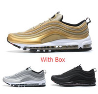 Wholesale Gold Lace Fabrics - Max 97 OG Metallic Gold Silver Bullet Running Shoes with Box Men and Women Fast shipping by EMS