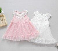 Wholesale Dot Vest Dress Korean Girls - 2017 Summer Children Girls Dress Princess Dress Korean Girl's Fower Bud Lace Dotted Dress Seeveless Vest Skirt