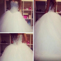 Wholesale Tulle Diamonds - Luxuries Crystal Diamond Wedding Dresses Bodice Sheer Corset Sexy Puffy Tulle Ball Gown Brides Dress White Tulle Princess Wedding Gowns 2017