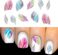 Wholesale Nail Art Water Decals Feathers - New Arrive Women Beauty Feather Nail Art Water Transfer Nail Art Stickers Tips Feather Decals