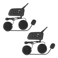 intercomunicador do fone de ouvido do capacete da motocicleta do bluetooth bt venda por atacado-2x BT À Prova D 'Água Da Motocicleta e Scooter de Fone De Ouvido Bluetooth / Interfone Esportes Capacete Intercom Bluetooth Interfone Headset 1200 m Rider