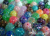Wholesale Rhinestone Epoxy Resin Beads - 100 pcs lot 10mm 12mm White mixed multicolor Chunky Epoxy Resin Rhinestones Ball Beads r84 Basketball Spacer Bead Jewelry u2425