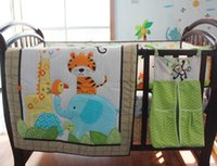 Wholesale Quilts Birds Flowers - Embroidery Forest animal elephant giraffe tiger bird flowers baby bedding set quilt bumper Skirt Mattress Cover crib bedding set