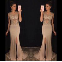 Wholesale Stretch Lace For Gowns - Mermaid Prom Dresses 2017 for Girl Slinky Champagne abendkleider Side Slit Beaded See Through Stretch Satin Evening Party Gowns