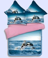 Wholesale Lion Comforter Sets King Size - 3d animal dolphin Lion, tiger, 3 4pcs Bedding Set Twin Full Queen King Size Bed Duvet Cover Bed Sheet Bed Linen pillowcase Bedclothes Sets