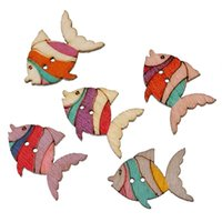 Wholesale Wholesale Wooden Shapes For Crafting - Kimter Mixed Fish Shape Wooden Sewing Buttons 2 Holes 26x19mm For Crafting Accessory Embroidered Creative Activity Pack Of 50pcs I650L
