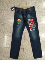 Wholesale Embroidered Male - Mens Jeans Slim Fit Embroidered Snake Men Biker jeans Denim Denim Pants Male Brand Designer Flower Male Jeans Trousers